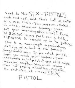 John Lydon's Handwritten Rant